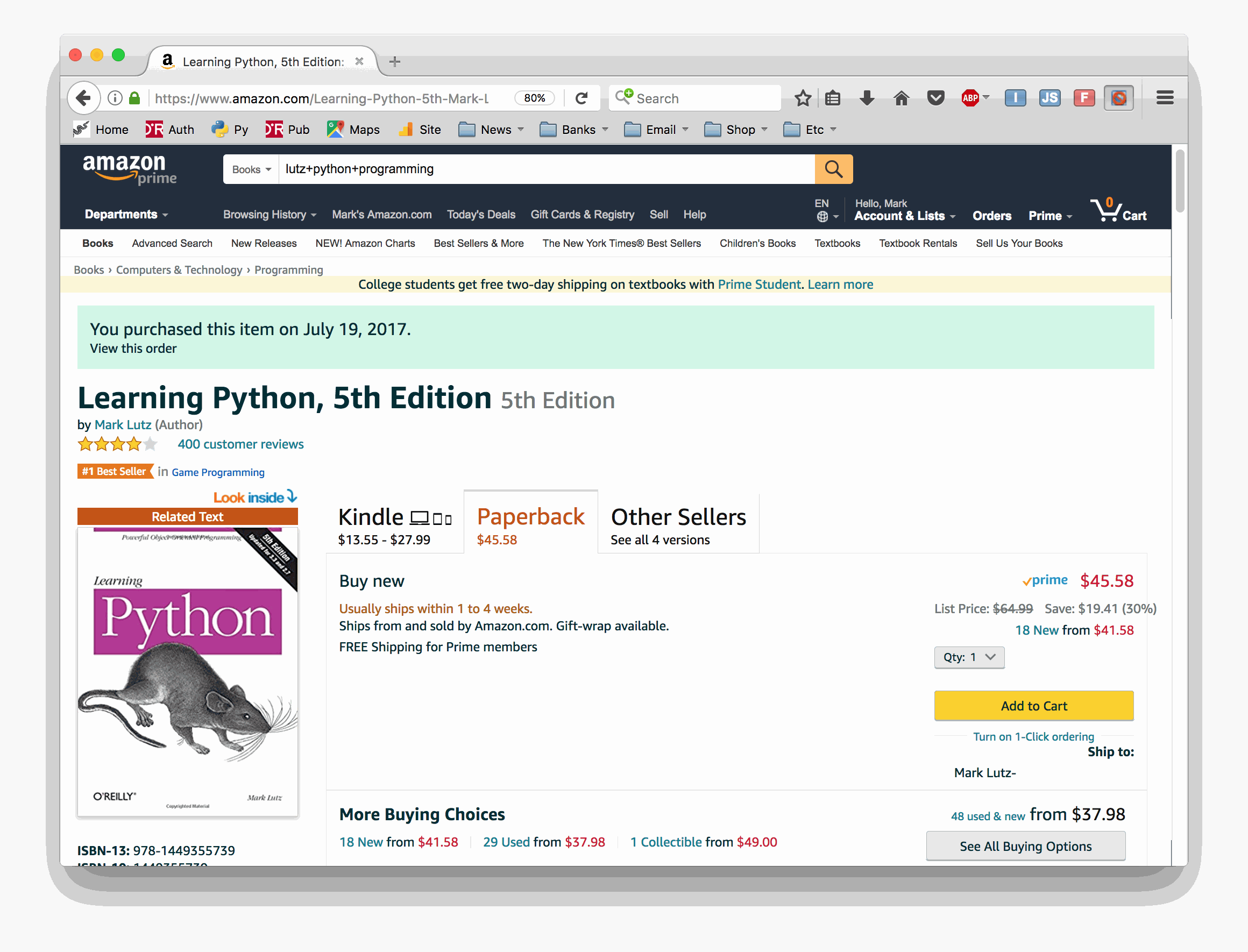 Teaching python by mark lutz entire month of november at a time when demand was surging another of my books fared even worse in this period being unavailable in print for over two fandeluxe