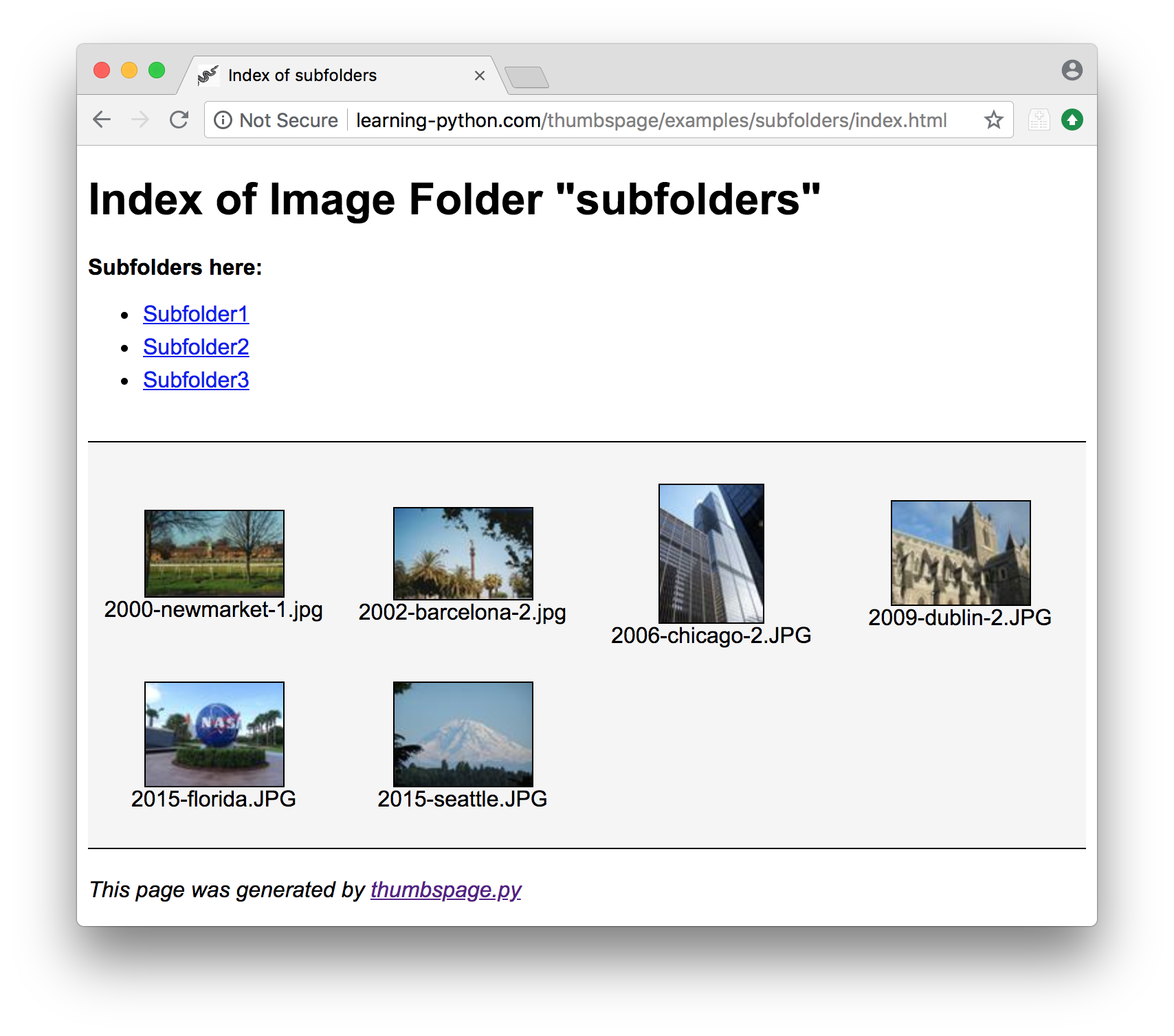 thumbspage - Image-Gallery Web Pages for Folders